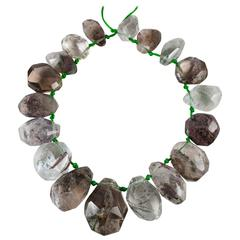 Incredible Necklace of 18 Faceted Quartz Crystals with Fascinating Inclusions
