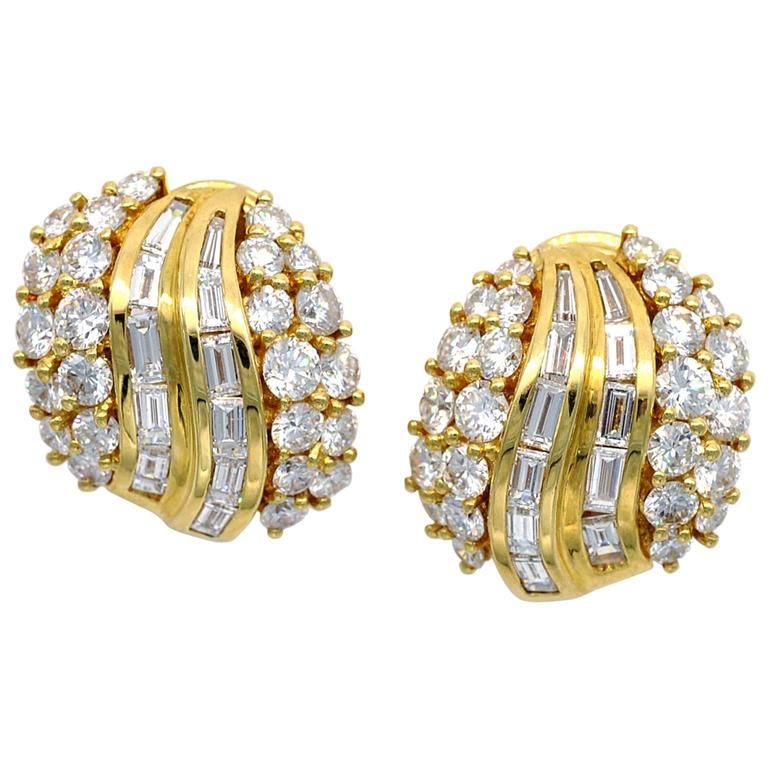 Round and Baguette Diamond Yellow Gold Cluster Clip-On Earrings