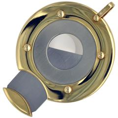 Yellow Gold and Steel Round Cigar Cutter