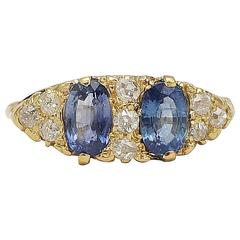 English Victorian Sapphire Diamond Gold Ring