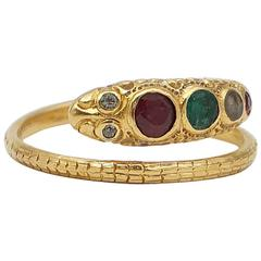 Victorian Gem Studded Gold Snake Ring