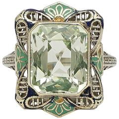Fantastic Art Deco Enamel Peridot Filigree Gold Ring