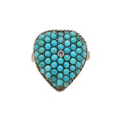 Victorian Turquoise Diamond Gold Heart Ring
