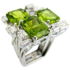 Barbara Anton Modernist Peridot and Diamond Cocktail Ring