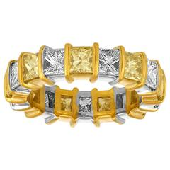 White and Yellow Princess Cut Diamonds Wedding Band in Two Color Gold Mounting