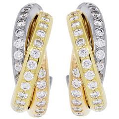 Cartier Trinity Diamond Tri Color Gold Small Earrings