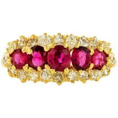 1860s Victorian Ruby Diamond Gold Ring