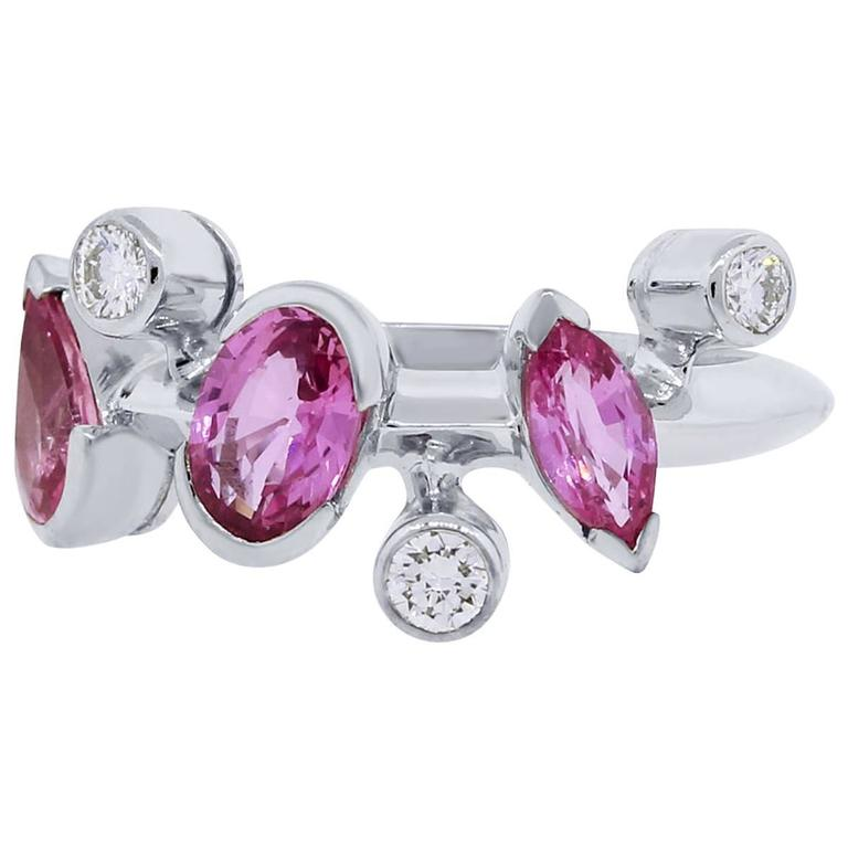 Cartier Meli Melo Pink Sapphire Diamond Platinum Ring For Sale