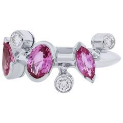 Cartier Meli Melo Pink Sapphire Diamond Platinum Ring