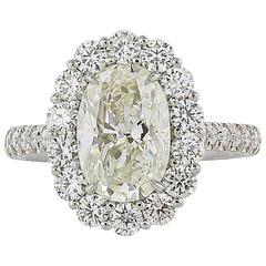 3.00 Carat Oval Diamond Platinum Cluster Ring