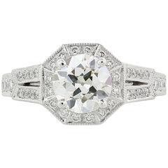 1.31 Carat Old European Cut Diamond Ring