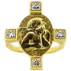 Cathy Waterman Diamond Gold Cross-Style Cherub Ring