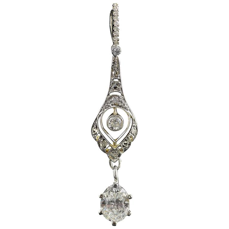 1930s Art Deco 1.04 Carat Diamond Two Color Gold Pendant