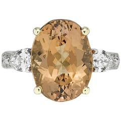 6.63 Carat Imperial Topaz Diamond Gold Platinum Ring