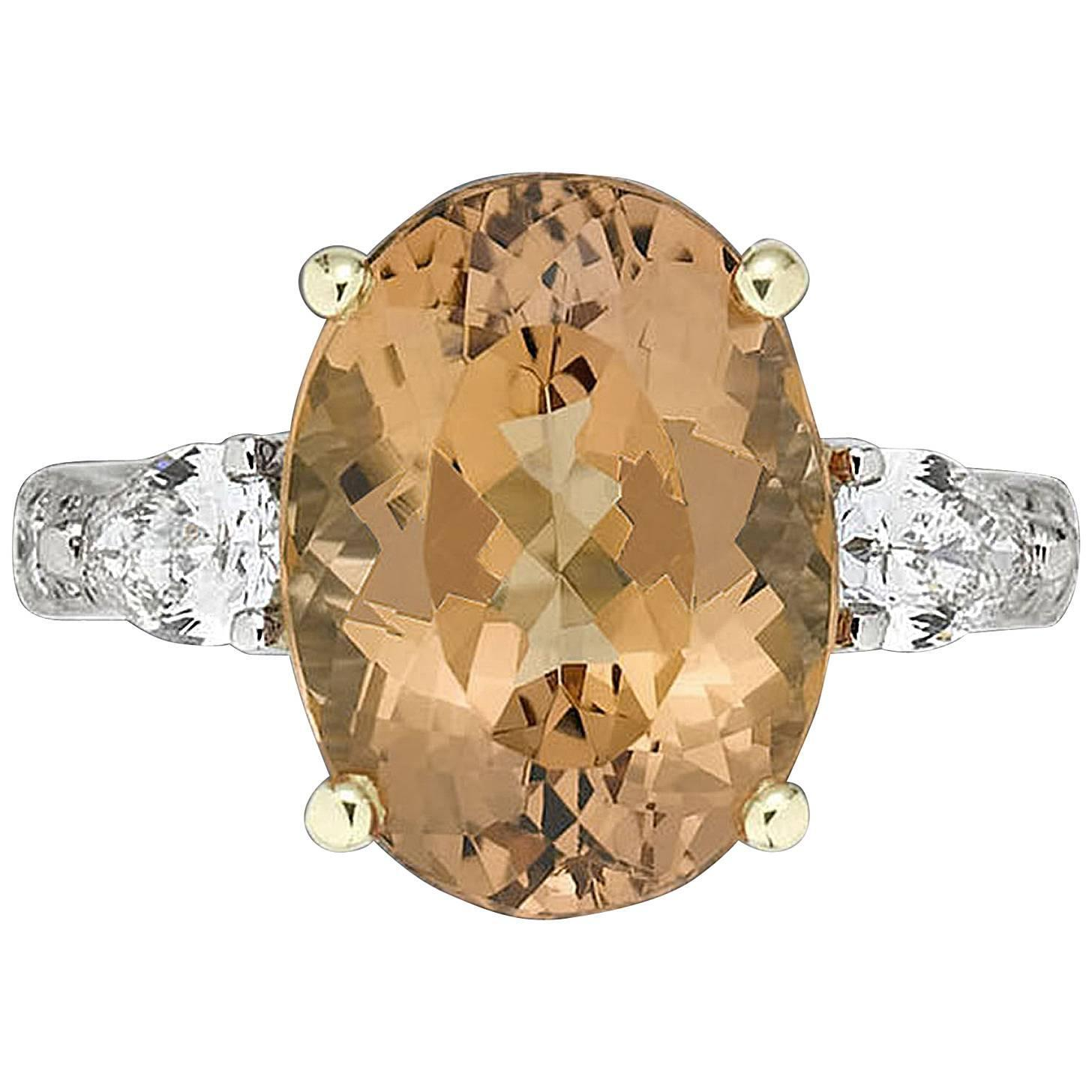 6 63 Carat Imperial Topaz Diamond Gold Platinum Ring at 1stdibs