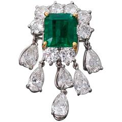 10.00 Carat Emerald Diamond Pendant or Brooch