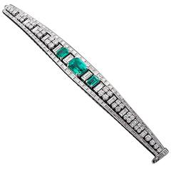 11.57 Carats Colombian Emeralds Diamond Platinum Bracelet