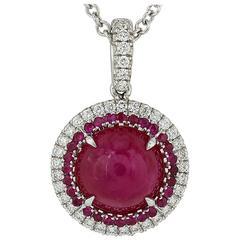 4.12 Carat Burmese Ruby Diamond Gold Pendant