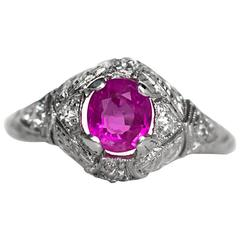 1920s Art Deco .89 Carat Burma Ruby Diamond Platinum Engagement Ring