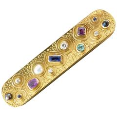 Herbert Haarstick Unique Modernist Pearl Sapphire Diamond Gold Brooch