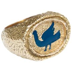1963 Georges Braque Blue Enamel Gold Procris Ring