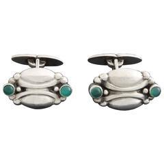 Georg Jensen Art Nouveau Green Agate Silver Cufflinks no. 22