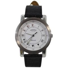 Hermes Stainless Steel Carrick Automatic Wristwatch