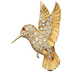 E. Wolfe & Co. Gold and Diamond Hummingbird Brooch