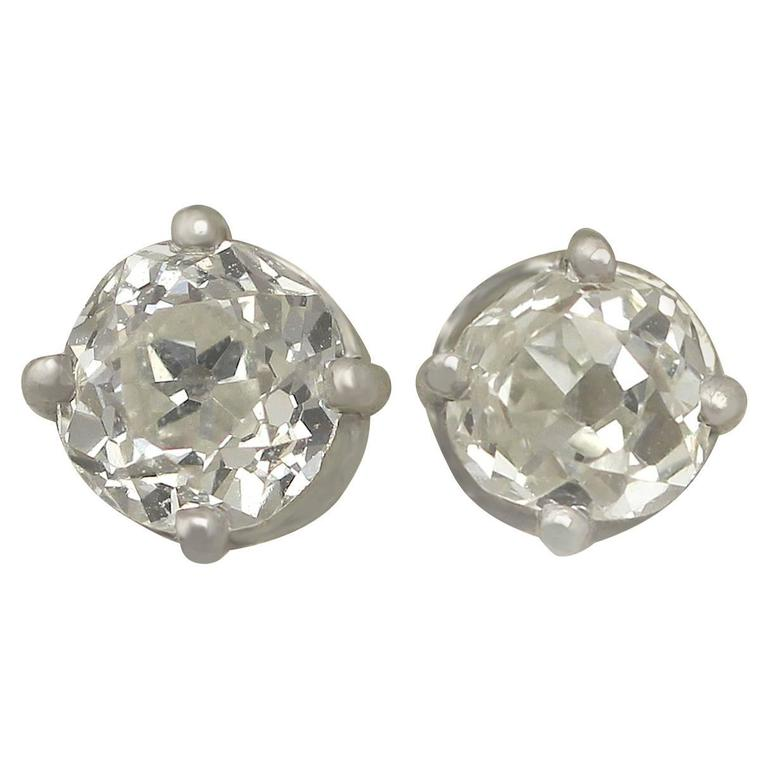 1890s and Contemporary 0.65 Carat Diamond and Platinum Stud Earrings