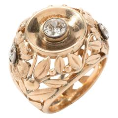 1930s Gold Cocktail Ring with Three Diamonds