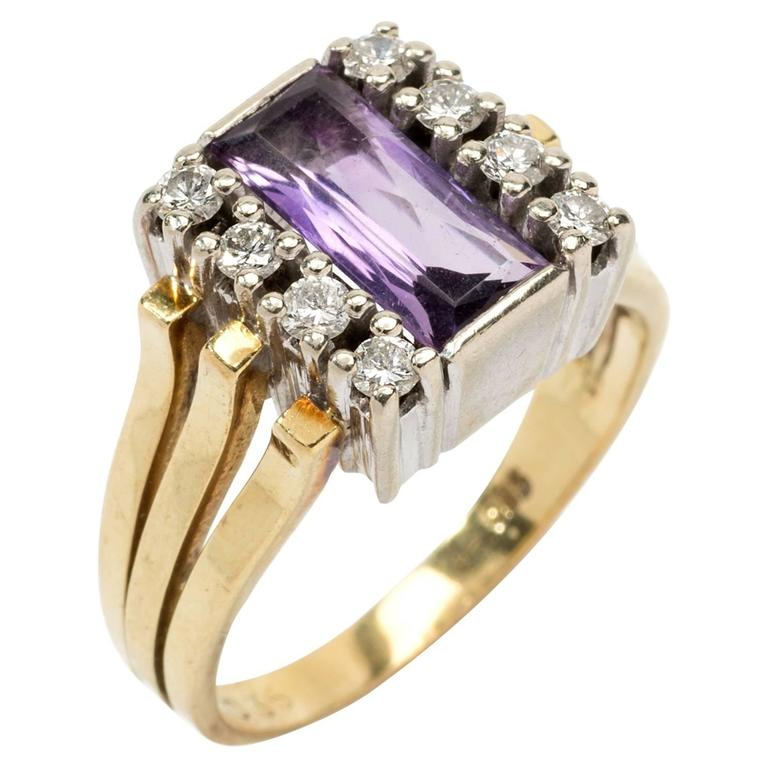 Ladies Gold Ring with Amethyst and 8 Diamonds at 1stdibs