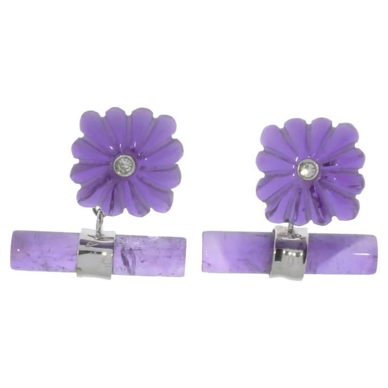 Pair of Amethyst and Diamonds Gold Cufflinks For Sale