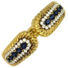 Rope Edged Design Diamond Sapphire Bracelet