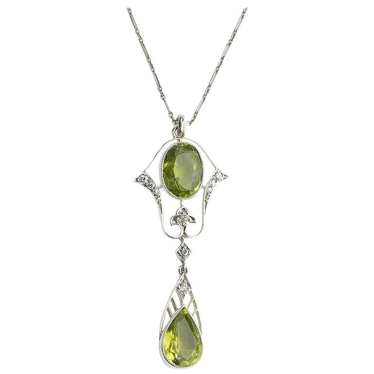 Black Starr & Frost Peridot Diamond Platinum Pendant For Sale