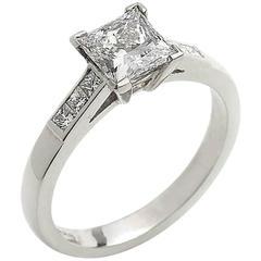 1.03 Carat GIA Cert Princess Cut Diamond Platinum Ring