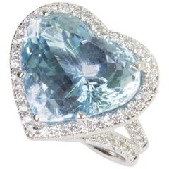 Sensational Coach House 21.11 Carat Heart Shaped Aquamarine Diamond Gold Ring