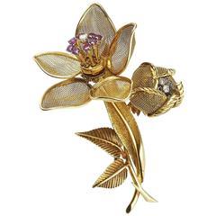 Ruby Diamond Gold Double Head Flower Brooch