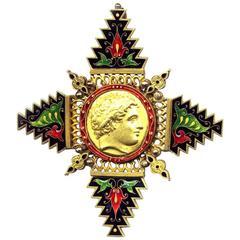 Giuliano Enamelled Gold Pendant
