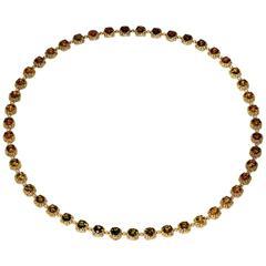 Tourmaline Diamond Yellow Gold Byzantine Necklace One of a kind Handmade in NYC
