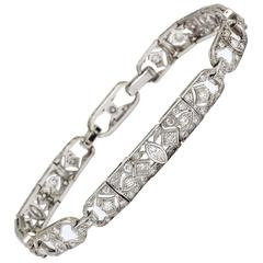 Art Deco Elegant Diamonds Platinum Flexible Open Design Link Bracelet