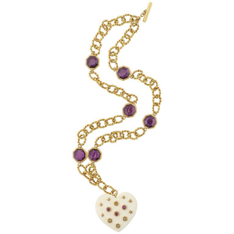 1960s White Ceramic Amethyst Peridot Diamond Gold Heart Necklace