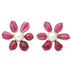 1960s Maz Rubelite Pearl Gold Floral Earclips With Posts
