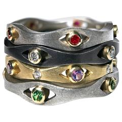 Robin Waynee Ruby Diamond Amethyst Tsavorite Garnet Curved Band Stack Rings