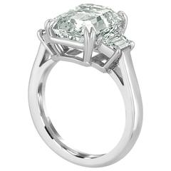 6.02 Carat Emerald Cut Diamond Set in Platinum with Trapezoids