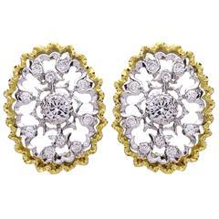 Buccellati Cassiopeia Oval Diamond Gold Earrings