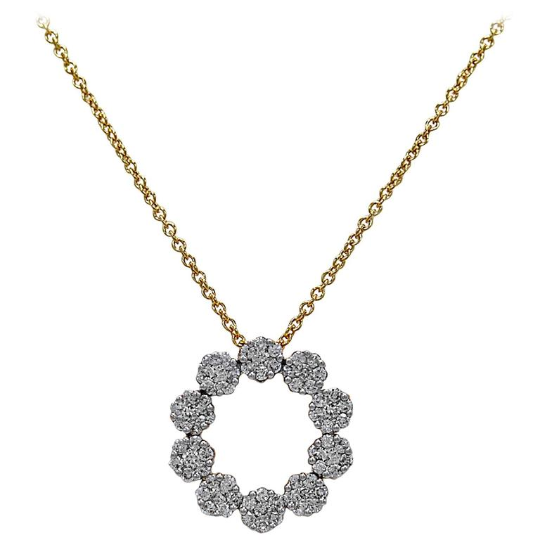 .50 Carats Diamonds Gold Circle Pendant  1