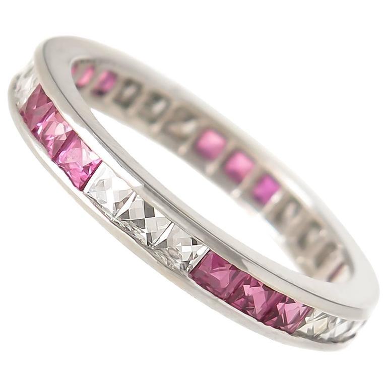 ruby cut platinum eternity band ring at 1stdibs