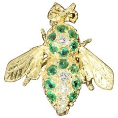 Adorable Emerald Diamond Gold Bee Pin Brooch
