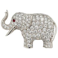 E. Wolfe & Co. White Gold and Diamond Elephant Brooch
