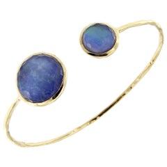 Jona Lapis Lazuli Quartz 18 Karat Gold Bangle Bracelet